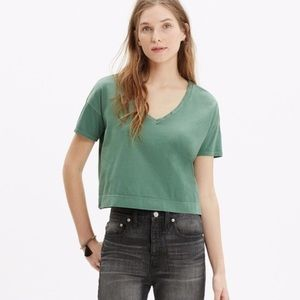 Madewell Green Cropped V-Neck